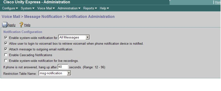 CUE Voicemail notification through Email